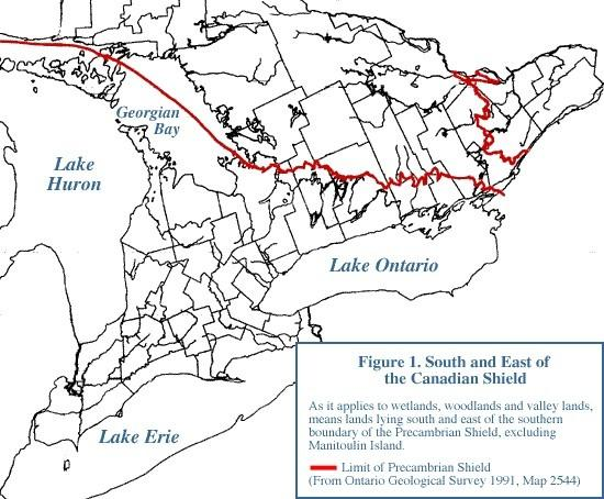 Geography Matters Figure 1 of the 1995 PPS demarcates the one line that identifies the south and east limits of the Canadian Shield.
