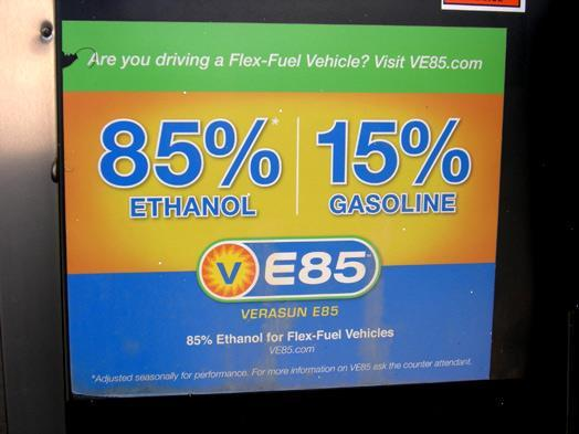 ethanol contains less energy per volume than gasoline typically get about