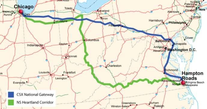 CHICAGO TO VIRGINIA CONNECTIVITY AND SYNERGY» Hampton Roads Linked to CenterPoint s Midwest Intermodal Centers» Norfolk