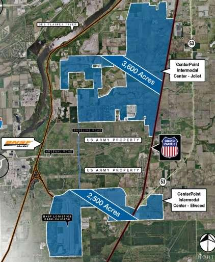 THE NATION S LARGEST MASTER-PLANNED INLAND PORT CENTERPOINT INTERMODAL CENTER-JOLIET, IL» Nation s Largest Inland Port Connects Chicago to west and east coast ports 6,000+ acres Multi-use zoning BNSF